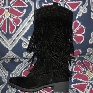 Shoes - Adriana Black Fringe Boots Size 9